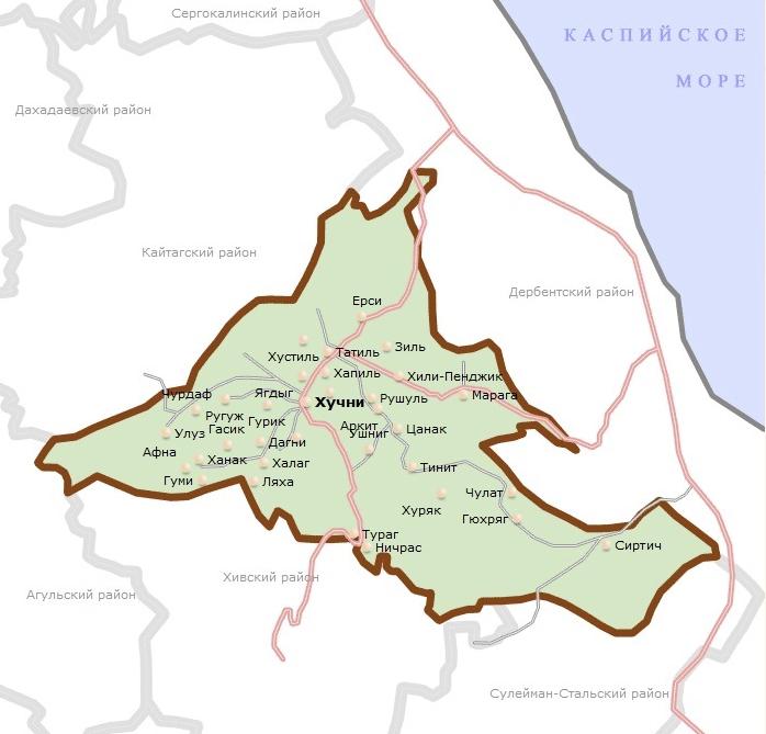 Карта Табасаранского района